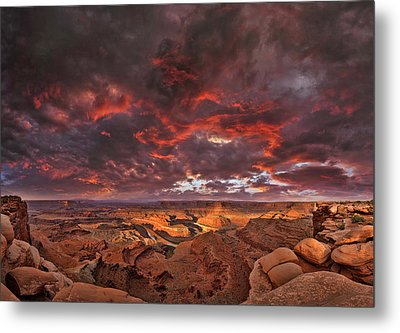 Metal Print featuring the photograph Fiery Sunrise Over Dead Horse Point State Park by Sebastien Coursol