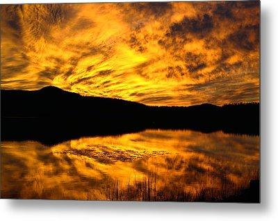 Fiery Sunrise Over Medicine Lake Metal Print by Rich Rauenzahn