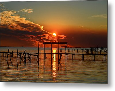 Metal Print featuring the photograph Fiery Sunset Colors Over Santa Rosa Sound by Jeff at JSJ Photography