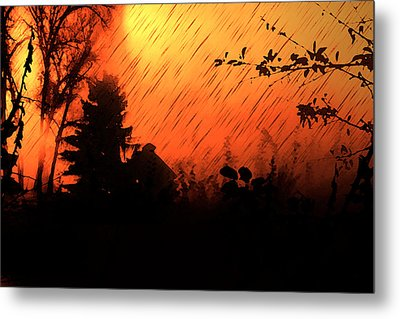 Fiery Sunset Metal Print by Persephone Artworks