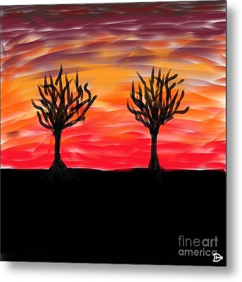 Metal Print featuring the digital art Fiery Twins by Andy Heavens
