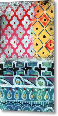 Fiesta 6- Colorful Pattern Painting Metal Print by Linda Woods
