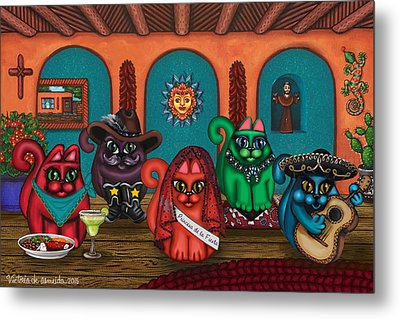 Fiesta Cats II Metal Print by Victoria De Almeida
