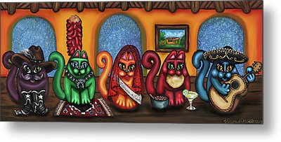 Fiesta Cats Or Gatos De Santa Fe Metal Print by Victoria De Almeida