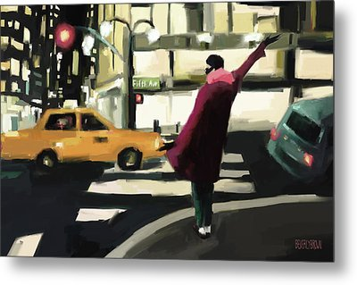 Fifth Avenue Taxi New York City Metal Print by Beverly Brown