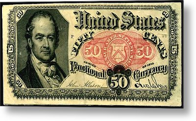 Fifty Cents 5th Issue U.s. Fractional Currency Fr 1381 Metal Print by Lanjee Chee