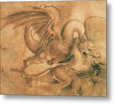 Fight Between A Dragon And A Lion Metal Print by Leonardo da Vinci