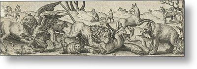 Fighting Animals In A Landscape, Abraham De Bruyn Metal Print by Abraham De Bruyn