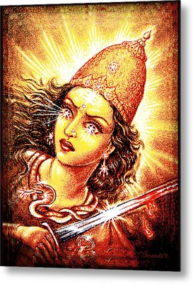 Metal Print featuring the mixed media Fighting Goddess by Ananda Vdovic