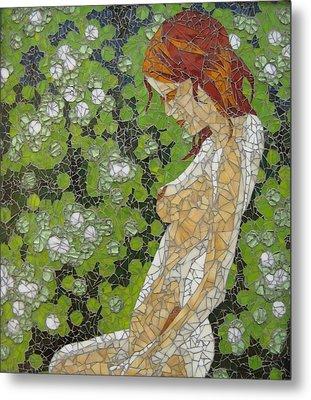 Figure In Front Of Green Spots Metal Print by Rachel Van der pol