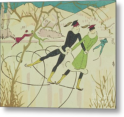 Figure Skating  Christmas Card Metal Print