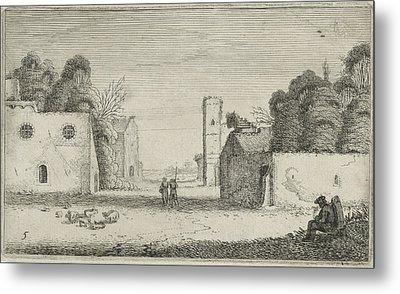 Figures In Ruins Of A Village, Jan Van De Velde II Metal Print by Jan Van De Velde (ii)