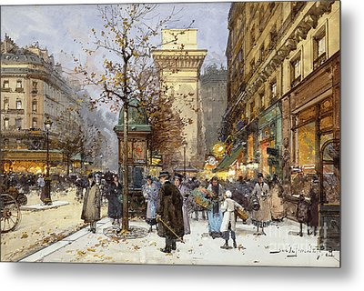 Figures On Le Boulevard St. Denis At Twilight Metal Print by Eugene Galien-Laloue