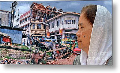 Filipina Woman And Her Earthquake Damage City Version IIi Metal Print by Jim Fitzpatrick