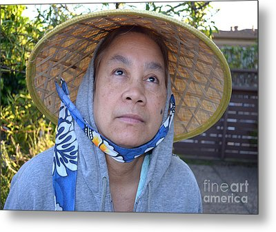 Filipina Woman With A Mole On Her Cheek And Wearing A Conical Hat II Metal Print by Jim Fitzpatrick