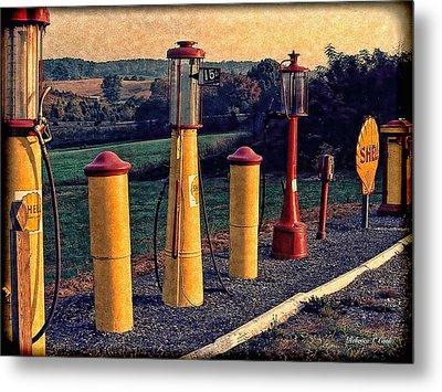 Fill 'er Up Vintage Fuel Gas Pumps Metal Print by Bellesouth Studio