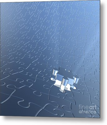 Final Piece Of The Jigsaw Puzzle Concept Metal Print by Christos Georghiou