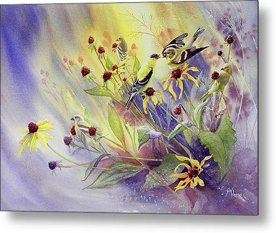 Finches To The Feast Metal Print by Gail Vass
