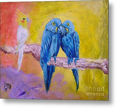 Metal Print featuring the painting Fine Feathered Friends 1 by Donna Dixon