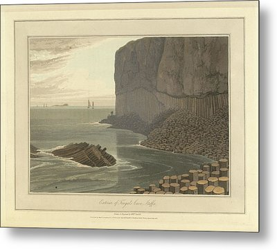 Fingal's Cave On Staffa Metal Print by British Library