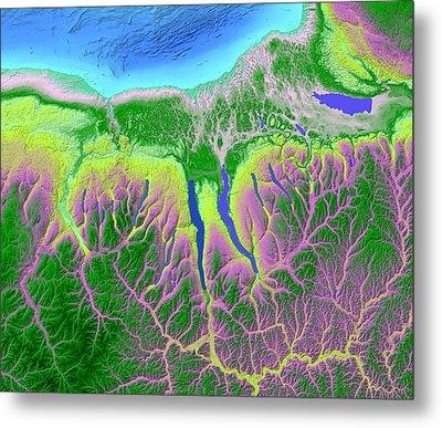 Finger Lakes Map Art Metal Print