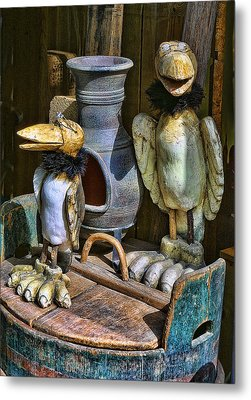 Finish Wooden Birds Metal Print by Linda Phelps