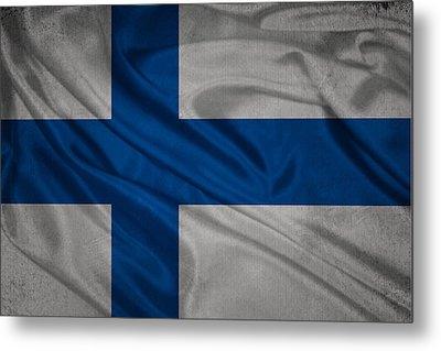 Finnish Flag Waving On Canvas Metal Print by Eti Reid