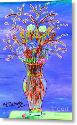 Metal Print featuring the painting Fiori by Loredana Messina