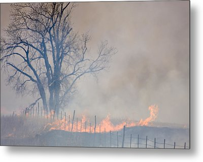 Fire And Fence Line Metal Print by Scott Bean