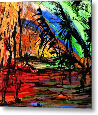 Metal Print featuring the painting Fire And Flood by Helen Syron