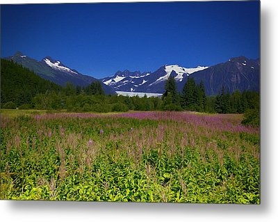 Fire And Ice Of Mendenhall Glacier Metal Print
