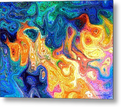 Metal Print featuring the digital art Fire And Water Abstract Art by Annie Zeno