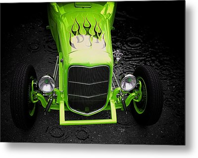 Classic Car Metal Print featuring the photograph Fire And Water Green Version by Aaron Berg