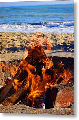 Metal Print featuring the photograph Fire At The Beach by Mariola Bitner