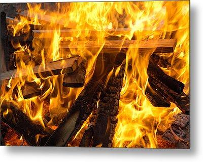 Fire - Burning Wood Metal Print by Matthias Hauser