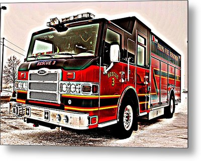 Fire Engine Red Metal Print by Frozen in Time Fine Art Photography