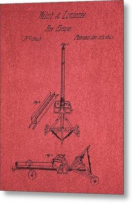 Fire Escape Patent Red Metal Print