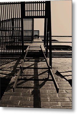 Fire Escape Sepia Metal Print by Don Spenner