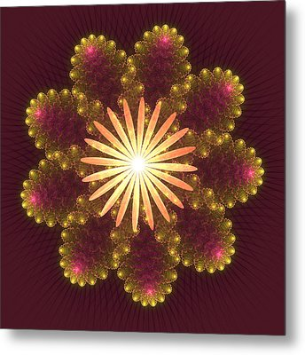 Fire Flower Mandala Metal Print by Svetlana Nikolova