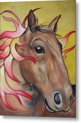 Fire Horse Metal Print by Leslie Manley