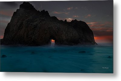 Fire In The Hole.... Big Sur Metal Print by Tim Bryan