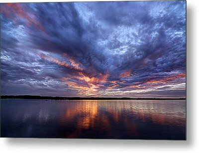 Fire In The Sky Sunset Over The Lake Metal Print