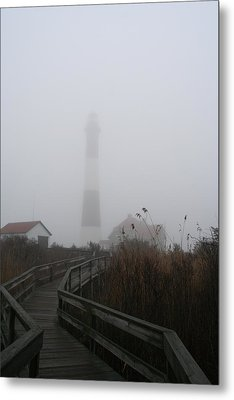 Fire Island Lighthouse In Fog Metal Print by Karen Silvestri