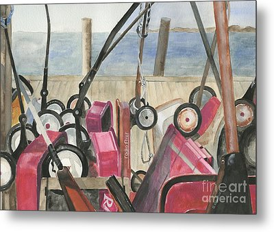 Fire Island Wagon Parking Metal Print by Sheryl Heatherly Hawkins