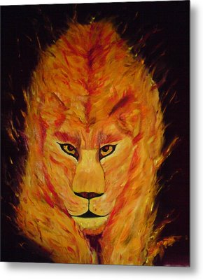 Metal Print featuring the painting Fire Lioness by Persephone Artworks