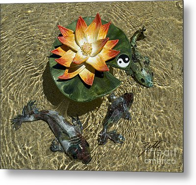 Metal Print featuring the sculpture Fire Lotus With Dragon Koi by Suzette Kallen
