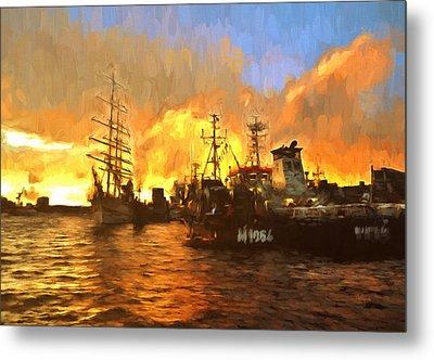 Fire On The Harbor Metal Print by Georgiana Romanovna