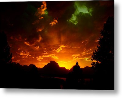 Fire On The Mountain - Grand Teton National Park Metal Print by Aidan Moran