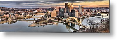 Fire Over The Pittsburgh Skyline Metal Print