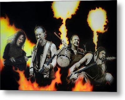 Metallica - ' Fire Rain On Me ' Metal Print by Christian Chapman Art